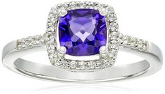 "Hallmark Jewelry ""Birthday"" Sterling Silver Amethyst and White Topaz Ring, Size 7"