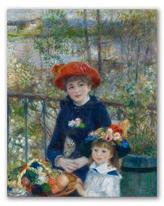 """Cuadro """"Dos Hermanas"""" de Renoir. Retrato doble estilo impresionista."""