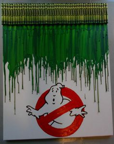 Ghostbuster Melted Crayon Art Painting by OnceUponACrayon on Etsy, $35.00