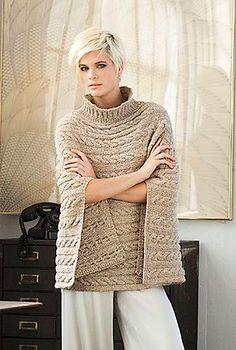 "Cabled Poncho by Norah Gaughan - Vogue Knitting Winter Take loungewear to the next level. NORAH GAUGHAN's sumptuous poncho is worked side to side in a rib-and-cable pattern with Berroco's ""Blackstone Tweed Metallic. Knitted Poncho, Knitted Shawls, Crochet Shawl, Knit Crochet, Knit Shrug, Crochet Granny, Vogue Knitting, Loom Knitting, Knitting Needles"