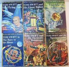 Six volumes of the Tom Swift, Jr Adventure Series for boys. Included are books 1, 4, 11, 12, 114, 15. Publisher Grosset and Dunlap. Originally published between 1954-1960 with picture covers