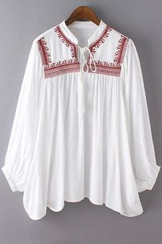 Stand Neck Embroidered Lace-Up Blouse Cute Blouses, Blouses For Women, Sexy Blouse, Perfect Wardrobe, Blouse Online, Embroidered Lace, All About Fashion, Lace Up, My Style