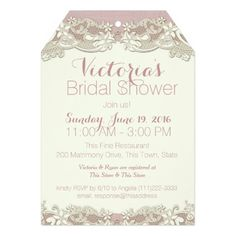"""Vintage Linen and Lace Bridal Shower 5"""" X 7"""" Invitation Card"""