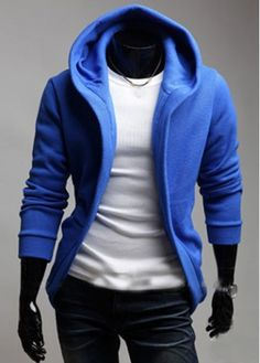 Fine Quality Men Long Sleeve Hooded Sweatshirt Blue on sale only US$12.17 now, buy cheap Fine Quality Men Long Sleeve Hooded Sweatshirt Blue at martofchina.com