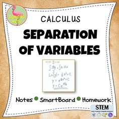 This lesson is intended for AP Calculus AB, Calculus BC, Calculus Honors and College Calculus students. The single lesson includes a student handout, a SMART NOTEBOOK 11 presentation, a completed set of notes, and a homework assignment for the lesson.  Students will use the separation of variables technique to solve differential equations, find general solutions and use initial conditions to solve for particular solutions.