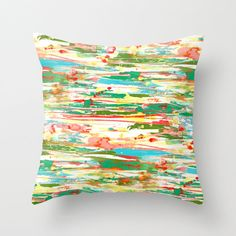 DIGITAL WATERCOLOR! Abstract Throw Pillow Cover in Red Yellow Green by HLBhomedesigns