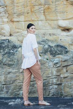 Traveller Pants - Peach with white dash | Carlieballard