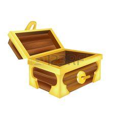 open empty treasure chest isolated on white Stock Vector