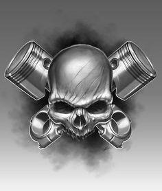 skull and piston tattoo - Pretty neat Car Tattoos, Biker Tattoos, Motorcycle Tattoos, Skull Tattoos, Sleeve Tattoos, Tatoo Art, Tattoo Drawings, Skull Drawings, Tattoo Crane