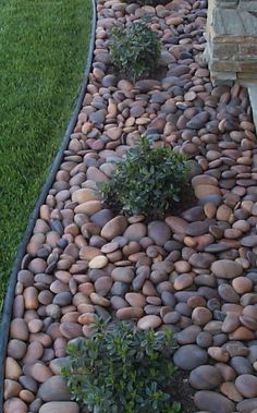 Landscaping with stones.