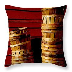 "Baskets Stacked Throw Pillow 14"" x 14"""