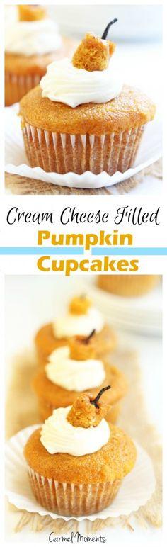 Cream Cheese Filled Pumpkin Cupcakes {Carmel Moments}