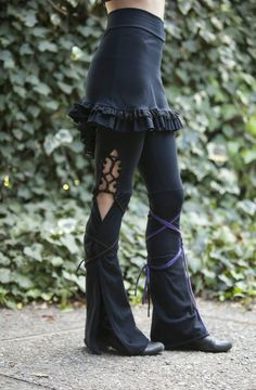 Tassel Lace Up Dance Pants - in Black or Brown - you choose your color strings. $82.00, via Etsy.