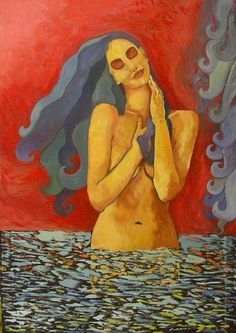 Carezza - Pittura,  70x100 cm ©2006 da Costan Giosi -                                            Pittura contemporanea, Persone, original, art, oil, original artwork, femme, woman, female, italian art, nudes, original painting, oil painting