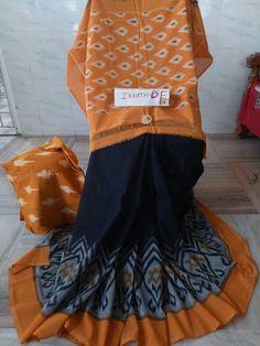 Mercerised ikkat cotton Sarees with blouse