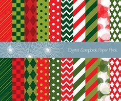 Christmas Scrapbook Paper Pack Digital
