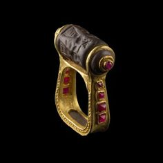 Seal Stone Ring with Ruby Inlay