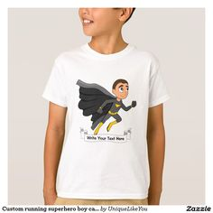 Custom running superhero boy cartoon T-Shirt