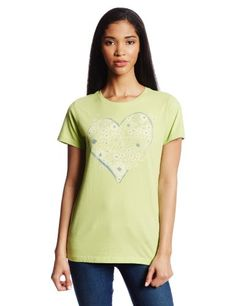 Life is good Women's Butterfly Flowers Creamy Tee, Lime Green, Medium Garment washed for softness. Triple needle stitching. Printed facing.  #LifeIsGood #Sports