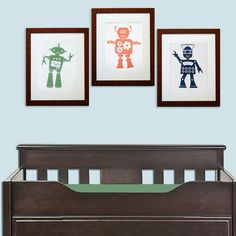 Robot Art - Set of Three - green, orange, navy on paper - handprinted.. $56.00, via Etsy.