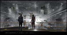Breathtaking Concept Art of Elysium's Spaceship Hangar and Robot Deck