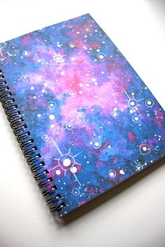 The purple galaxy watercolor print notebook will take you far away with ever word you write. Watercolor Galaxy, Watercolor Print, Spiral, Notebook, Writing, Unique Jewelry, Purple, Words, Handmade Gifts