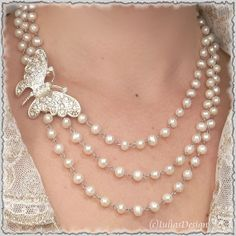 White freshwater pearl and rhinestone necklace by IuliasDesign, $35.00