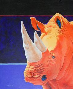 Rhino, horns, Black Rhino, White Rhino, African animals, Big five, beast, wildlife, charging bull, artwork, fine art, Pop art, contemporary art, art, gesso panel, canvas, oil painting, acrylic painting