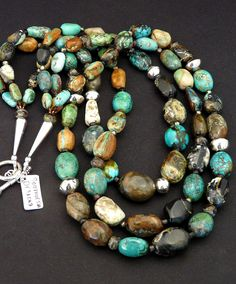 Boulder Turquoise & Opal Like Turquoise 3-Strand Necklace with Czech Glass, Coin Silver & Sterling