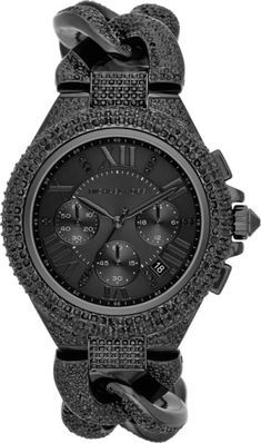 1df754771 Midsize Black Stainless Steel Twisted Camille Threehand Glitz Watch - Lyst  Mk Watch, Michael Kors