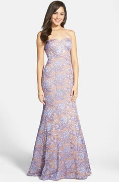 Hailey Logan Embroidered Lace Strapless Mermaid Gown (Juniors)
