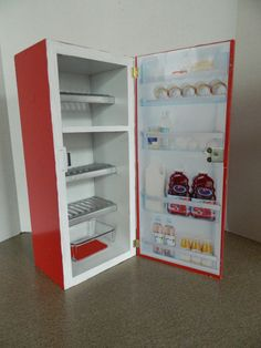 Doll House Appliances: Kitchenaide Red Refrigerator And Stove
