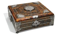 Spanish Colonial, 18th century CASKET tortoiseshell, with bone inlay, on a cedar wood core, with silver repoussé mounts