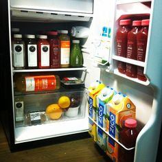 Refrigerator Look Book: Well+Good Edition. What, your office mini-fridge doesn't look like this? Line-up includes @pretamangerusa @ritualwellness  @liquiteria @zico, @kettlebellkitchen, and fresh Nola bars all the way from San Fran.