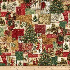 Holiday Shimmer Metallic Postcard Patchwork Pine/Gold from @fabricdotcom  From Hoffman California International Fabrics, this cotton print fabric is perfect for quilting, apparel and home decor accents. Colors include red, green, white, tan and brown. Features gold metallic accents throughout.