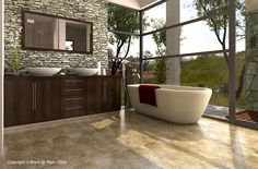 Contemporary Master Bathroom with Built-in bookshelf, Delia - Acrylic Modern Freestanding Soaking Tub, travertine floors