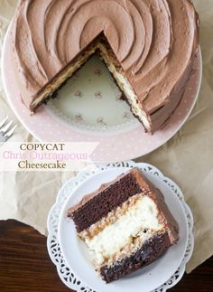 Copycake Chris' Outrageous Cheesecake -- layers of chocolate cake, cheesecake, brownie, and caramel pecan frosting, all covered in chocolate frosting.  To die for!!