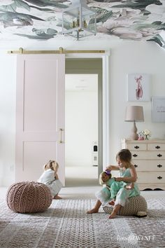 Shared Girls Bedroom with Floral Wallpaper - Remington Avenue Children's Room Upgrade with At Home S Girls Bedroom Wallpaper, Girl Wallpaper, One Bedroom, Kids Bedroom, Bedroom Decor, Bedroom Inspo, Wallpaper Backgrounds, Home Design, Design Shop
