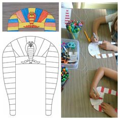 Lesson 14 Joseph's brothers come to Egypt craft. I printed a template sourced via pinterest for the children to colour then cut as the Egyptian headdress Joseph would've worn when he was Governor. Ruler Crafts, K Crafts, Bible Crafts, Preschool Crafts, School Age Crafts, Sunday School Crafts For Kids, Sunday School Activities, Ancient Egypt Crafts, Egyptian Crafts