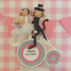 Monkey Couple on Bike/Wedding Cake by marileejanedesigns.etsy.com