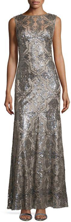 Tadashi Shoji Sleeveless Sequined Deco Lace Gown