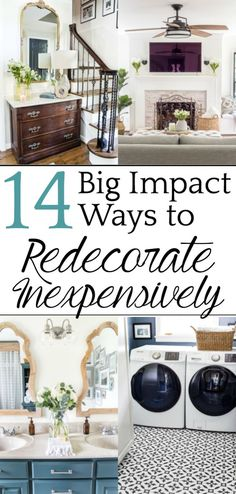 14 Big Impact Ways to Redecorate a Room Inexpensively - Bless'er House You dont have to spend thousands and go all demo day on half of your house just to make a big change! #redecorate #affordabledecor
