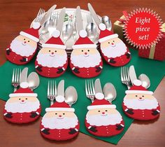 Holiday Santa Silverware Holders- Set of 8 - Acoutlet Decor&Gifts Christmas Dining Table, Christmas Tablescapes, Christmas Table Decorations, Christmas Kitchen, Nordic Christmas, Modern Christmas, Christmas Sewing, Christmas 2019, Christmas Projects