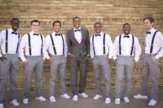 Boys Outfits -- blue suspenders, gray pants / Groom will wear a gray vest with coral boutinear w/ gray vans or gray sperrys Wedding Vans, Wedding Groom, Wedding Suits, Wedding Attire, Dream Wedding, Wedding Dresses, Navy Groomsmen, Groomsmen Suspenders, Bridesmaids And Groomsmen