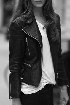 Black leather jacket.