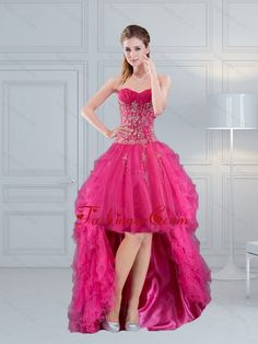 High Low Sweetheart Hot Pink 2015 Prom Dress with Embroidery and Beading QDZY209TZBFOR