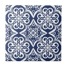 Blue and White Moroccan Pattern Tile
