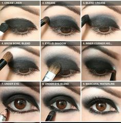 Best Ideas For Makeup Tutorials : Step-By-Step Tutorial for Nightfall black eyeshadow made easy! - Make up - Best Ideas For Makeup Tutorials : Step-By-Step Tutorial for Nightfall black eyeshadow made easy! - Make up - Gothic Makeup Tutorial, Makeup Tutorial Step By Step, Vampire Makeup Tutorial, Goth Makeup, Dark Makeup, Prom Makeup, Makeup Style, Black Eyeshadow Tutorial, Make Up Tutorial