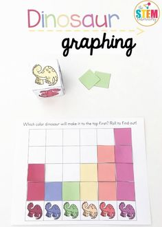 Super fun dinosaur graphing activity for preschoolers or kindergarteners! Roll the dice and graph the color below. Great for color recognition or a dinosaur unit. Graphing Activities, Color Activities, Stem Activities, Math Games, Learning Activities, Kids Learning, Classroom Games, Educational Activities, Dinosaur Theme Preschool