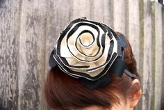Couture black and white felt rose headpiece, felt rose hairband, felt rose headband